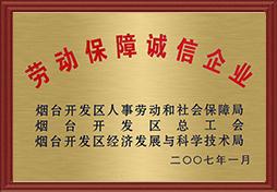 2007年雷电竞下载劳动保障诚信企业