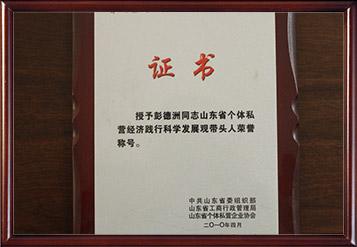 2008年山东省个体私营经济践行科学发展观带头人